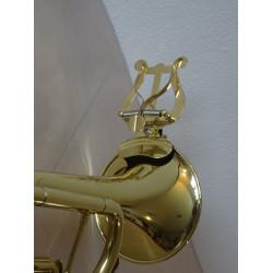 trumpetová lyra - notový držák, na ozvučník, mosazná