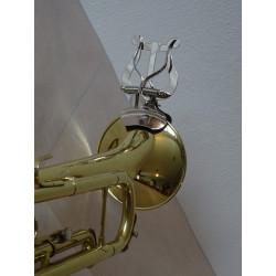 trumpetová lyra - notový držák, na ozvučník, niklovaná